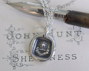 radiant sun wax seal necklace - J'AVANCE - I advance - wax seal