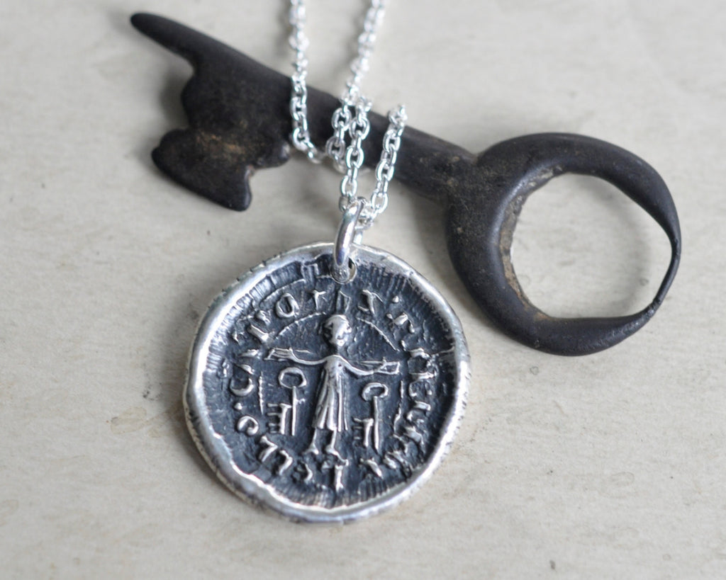 medieval saint peter wax seal necklace