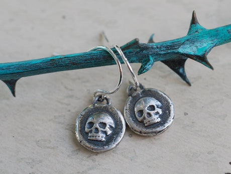 skull earrings - wax seal jewelry