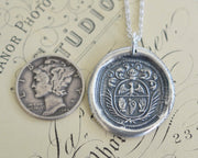 two hands and wings wax seal necklace - soar on the wind - family crest wax seal jewelry