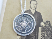 compass wax seal necklace