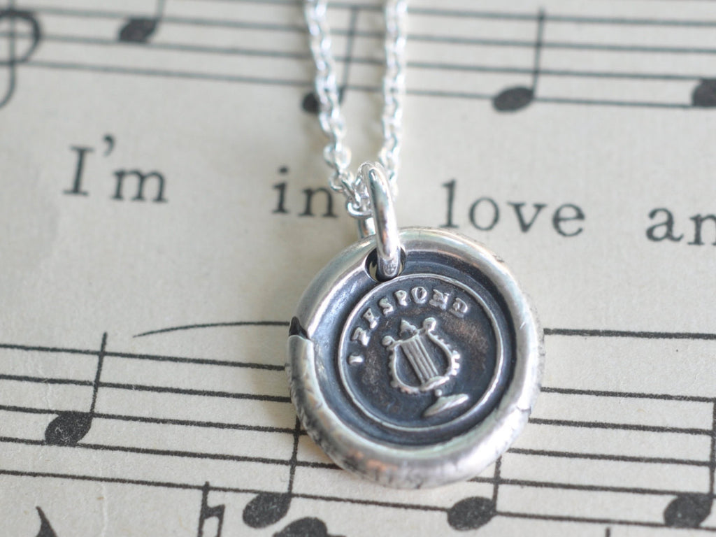 lyre wax seal necklace