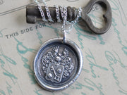 skeleton key wax seal necklace