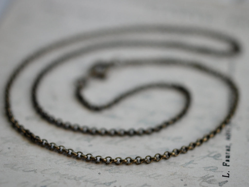 "necklace chain - antiqued brass rolo chain - 16"" or 18"" length"