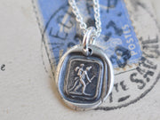 devil carrying Cupid wax seal necklace - the devil with it - wax seal jewelry