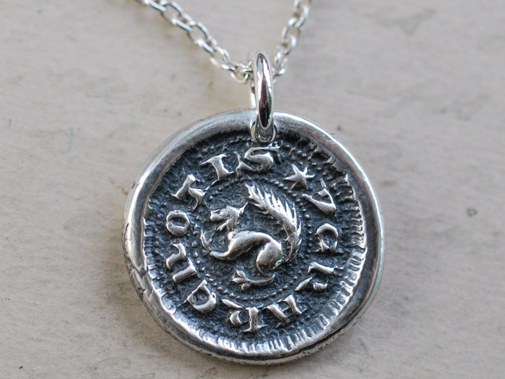 squirrel wax seal necklace - I CRAKE NOTIS - I crack nuts - medieval