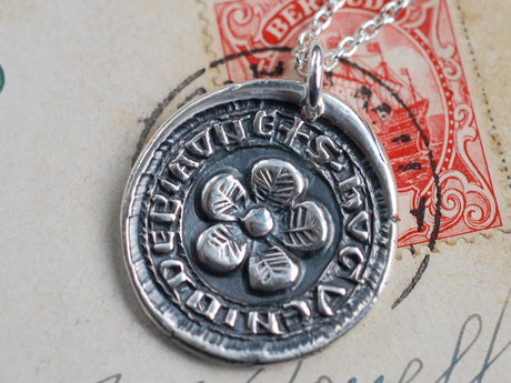 medieval flower wax seal necklace