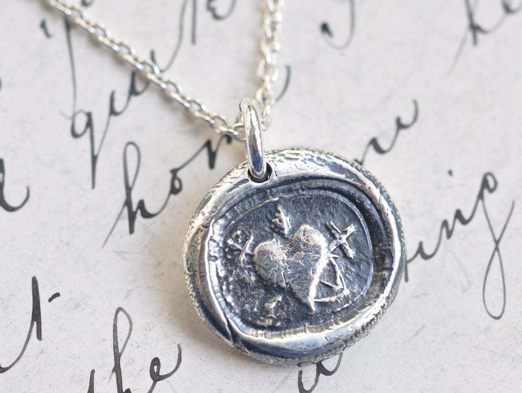 heart cross anchor wax seal necklace