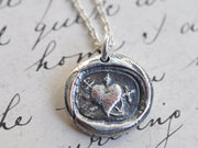 heart cross anchor wax seal necklace - faith hope charity wax seal