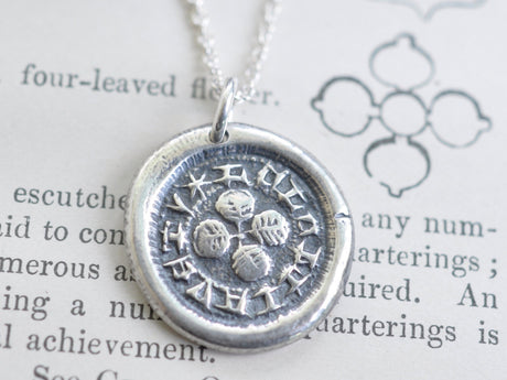 four leaf clover wax seal necklace - you have a loyal friend