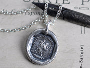 devil carrying cupid wax seal necklace