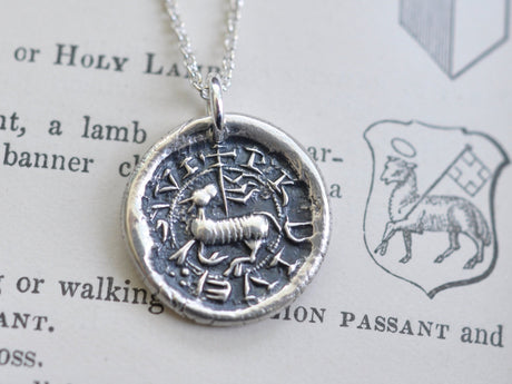 Agnus Dei wax seal necklace - Lamb of God - religious wax seal jewelry