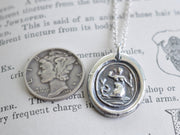 mermaid wax seal necklace - sterling silver antique wax seal jewelry
