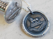 lion wax seal necklace - VIRTUS MILLE SCUTA - virtue - Howard family crest