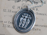 three graces wax seal necklace