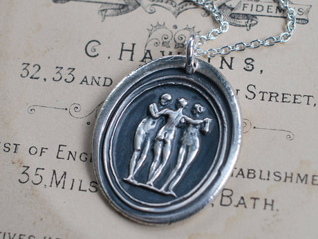 the three graces wax seal necklace - classical wax seal jewelry