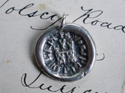rustic medieval castle wax seal necklace - home sweet home