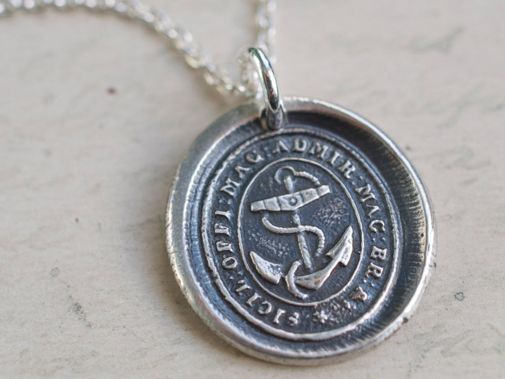 british navy anchor wax seal necklace