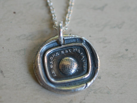 world globe wax seal necklace - the world is my home - wax seal jewelry