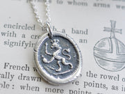 medieval lion wax seal pendant