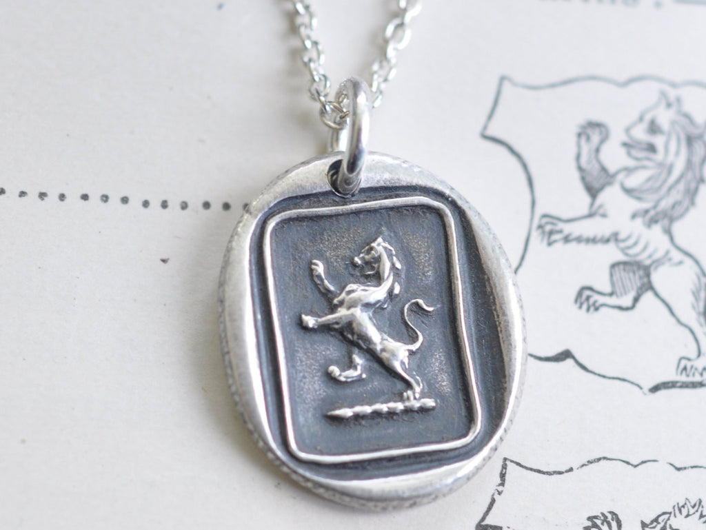 lion rampant wax seal necklace