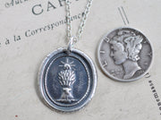 wheat sheaf harvest wax seal necklace - industry and prosperity