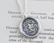 medieval griffin wax seal pendant