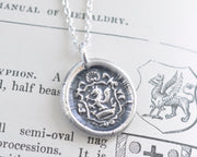 medieval griffin wax seal necklace