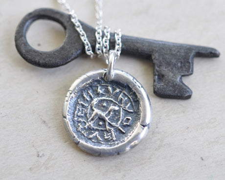 dog wax seal necklace - a loyal friend - medieval wax seal jewelry