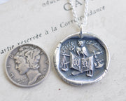 owl, book, scales of justice wax seal necklace - FIDES ET TIME - faith and fear