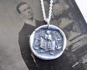 owl, book, scales of justice wax seal necklace - ET TIME - faith and fear