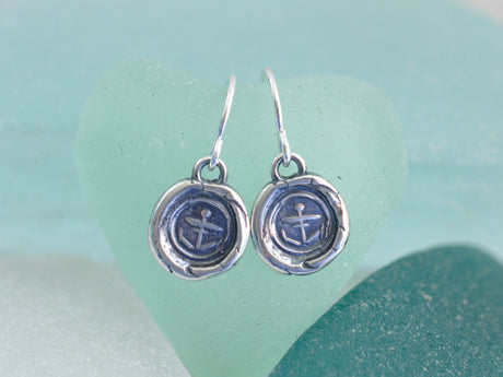 anchor wax seal earrings - hope and stability - wax seal jewelry
