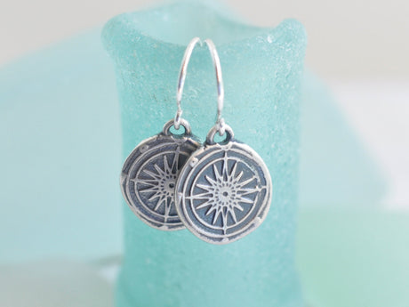 silver compass wax seal earrings - guidance, navigation, direction
