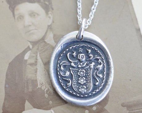 three flowers family crest wax seal necklace - hope, joy, imagination