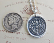 three flowers family crest wax seal necklace - family crest wax seal jewelry
