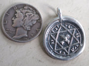 Star of David wax seal necklace with clasped hands - medieval wax seal jewelry