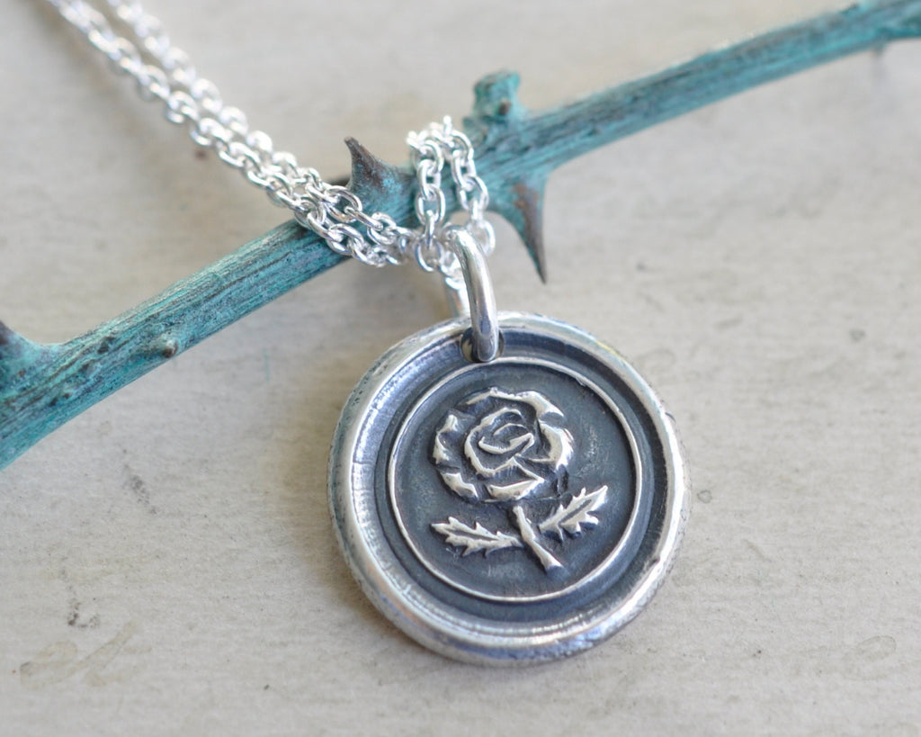 rose wax seal necklace