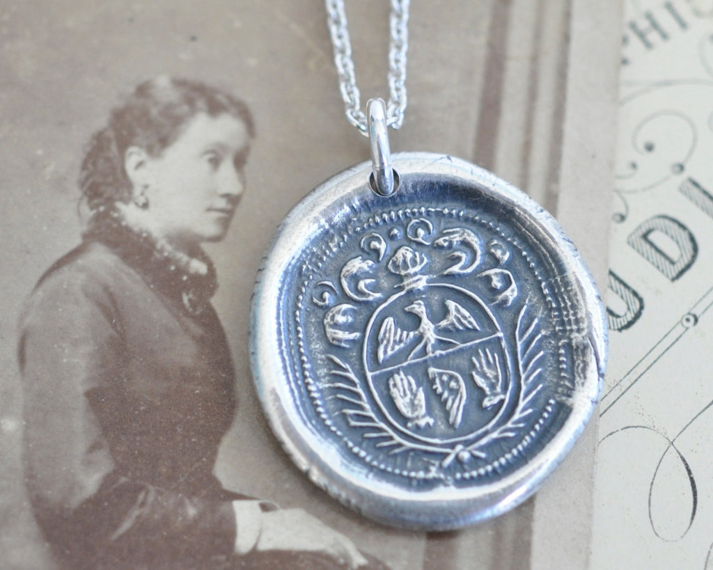 wings wax seal necklace
