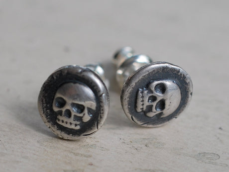 skull studs - sterling silver skull post earrings - wax seal jewelry