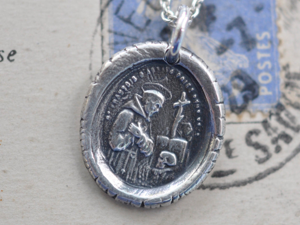 St. Francis of Assisi wax seal necklace - patron saint for ecologists