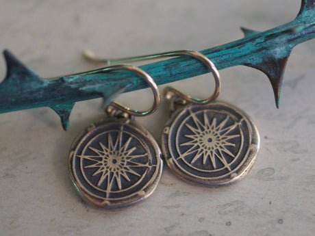 bronze compass wax seal earrings - guidance, navigation, direction