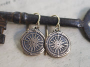 bronze compass earrings