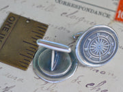 compass wax seal cuff links - wax seal accessory