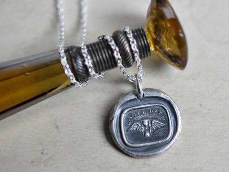 carpe diem wax seal necklace