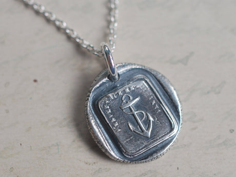 anchor wax seal necklace - hope sustains me