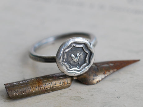 heart wax seal ring - sweetheart ring - wax seal jewelry