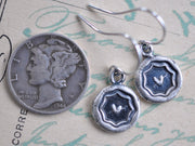 heart wax seal earrings - Victorian era wax seal jewelry