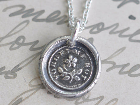 forget me not flower wax seal necklace - wax seal jewelry