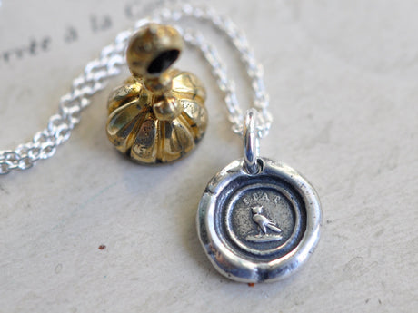tiny owl wax seal necklace - FIAT - be done - wax seal jewelry