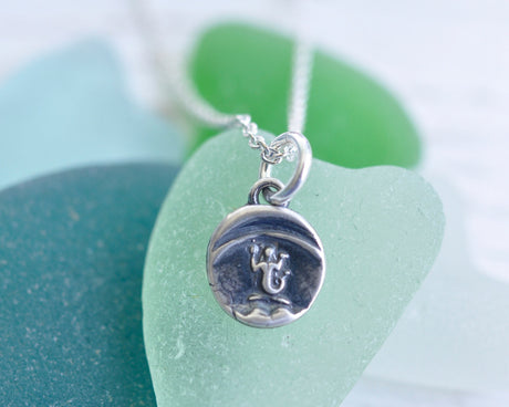tiny silver mermaid pendant - eloquence, enchantment, mystery - wax seal jewelry